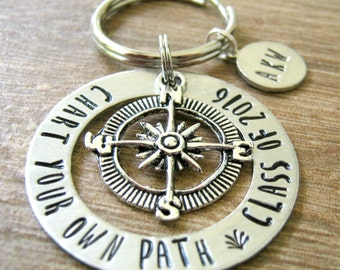 Class of 2017 Keychain, Graduation gift, Chart Your own Path, Compass charm, optional initial disc, Senior gifts, gifts for the graduate