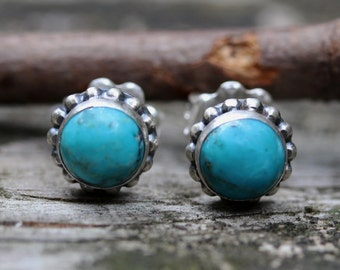 Nacozari Turquoise sterling silver large stud earrings
