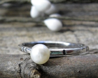 20% OFF TODAY - Petite Pearl Ring 4mm freshwater pearl and oxidized sterling silver