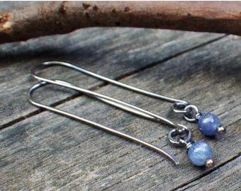 20% OFF TODAY - AA Kyanite Berries - shimmer blue kyanite dangle turquoise earrings