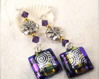 Purple earrings, dichroic earrings, purple jewelry, handmade, hippie earrings, polka dot jewelry, unusual jewelry, women's handmade, fusion