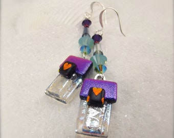 Violet purple earrings, Fused dichroic glass, Dichroic glass jewelry, Hana Sakura, Heart earrings, glass fusion gifts, trending jewelry