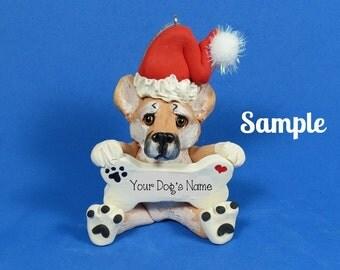 Santa Bone Shiba Inu Dog Christmas Holidays Bone Ornament Sallys Bits of Clay PERSONALIZED FREE