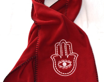 Hamsa Scarf Embroidery Stitched on RED Fleece Scarf Embroidered with White thread