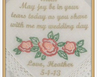PERSONALIZED EMBROIDERED Wedding Handkerchief Mother of the Bride