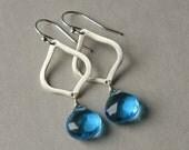 Blue Briolette Earrings, Silver Dangle Earrings, Sterling Marquise Earrings, Bridal Jewelry, Sterling Drop Earrings, Faceted Briolettes