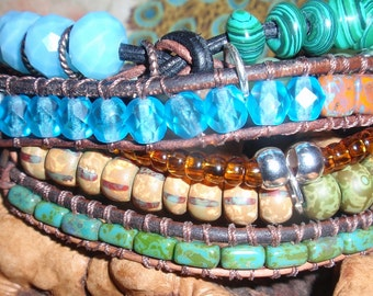 Leather Wrap ,20% OFF COUPON Wrap Bracelet, Handmade Art Wear, Handmade Beaded Bohemien Bracelet