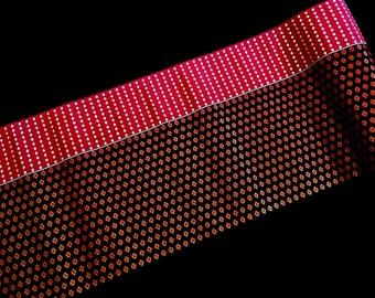 Vintage Japanese Obi Fabric - Vintage Brocade - Brick Red Silver Black Copper Fabric - Vintage Obi Material  11.4 inches x 1 Yard 29cm x 1 M