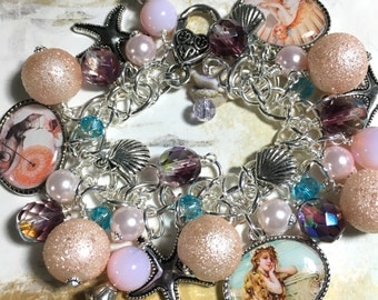 Mermaids Bracelet, altered art,Beachy Chic,Free Shipping in USA,resin charms,  handmade, one of a kind,bostoncharm, mixed media