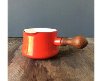 Red Dansk Kobenstyle Enamel Pot - Mid Century Design - Teak Handle