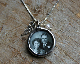 Angel Wing Custom Photo Necklace, Always in my Heart Photo Necklace, Soldered Glass Photo Pendant, Mommy Necklace, Grandma Necklace