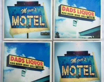 Photo Coasters - Mom's Motel and Dad's Liquor Vintage Signs - Set of 4