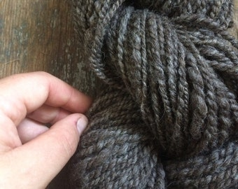 Slate natural undyed grey bulky weight two ply 126 yards permaculture iowa farm rare breed icelandic wool yarn