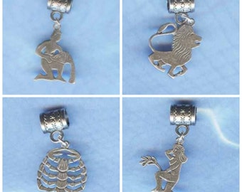 Sterling Silver Zodiac Bead Selection Leo Virgo Scorpio Aquarius Lrg Hole Bead Fits All European  Add a Bead Charm Bracelet Jewelry