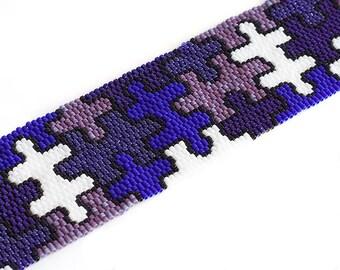 Beaded Cuff Bracelet, Purple, Puzzle, Beadwork, gourd stitch, peyote stitch