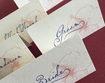 Custom Vintage Hawaiian place cards / escort card, set of 18