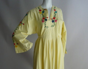 60s Embroidered Bohemian Kaftan Dress size 8 10 12  ETHNIC Babydoll Yellow Caftan Maxi Medium Vintage 1970s CARLOS of Haiti