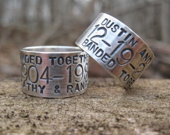 Custom Goose, Duck Band Ring . sterling silver . personalized for the avid hunter in your life . stamped names & date . finger sz 10 - 13