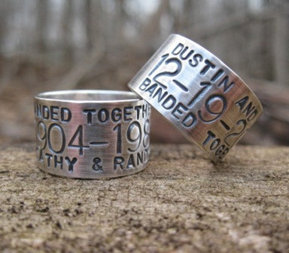 custom goose duck band ring sterling silver personalized