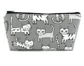 Cats on Grey Cosmetic Bag, Zip Pouch, Makeup Bag, Pencil Case, Zipper Bag