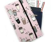 Passport Wallet, passport holder, family travel wallet, travel organizer, travel wallet - Coffee Cups on Light Pink