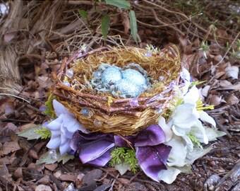 floral centerpiece shabby chic decoration robins bird eggs faerie fairy nest  home decor flower arrangement flowers Mother's Day gift
