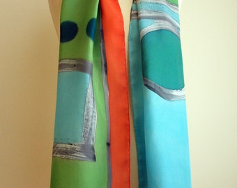 Hand Painted Silk Scarf.Silk Scarf.Hand Painted Silk Shawl.71x18 in.Wedding Gift.Giveaways.Blue scarf.Green scarf