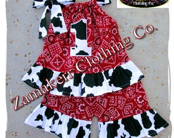 Custom Boutique Clothing Farm Cow Bandana Pillowcase Top Outfit Set Ruffle Pant Bottom 3 6 9 12 18 24 month size 2t 2 3t 4t 4 5t 5 6 7 8 t