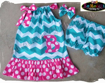 Custom Boutique Clothing Girl Chevron Pillowcase Dress Outfit Pant Set 1st Birthday Short Bloomer Size 3 6 9 12 18 24 month 2t 4 5 6 7 8 t