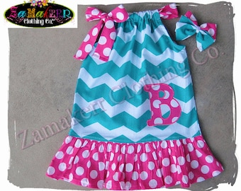 Custom Boutique Clothing Girl Chevron Pillowcase Dress 1st Birthday PILLOW CASE Personalized Size 3 6 9 12 18 24 month 2t 4 5 6 7 8 t