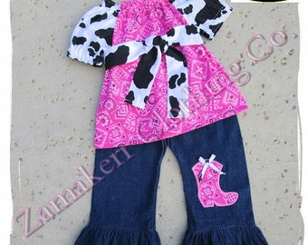 Birthday Girl Cow Bandana Denim Outfit Set Farm Barn Yard Pant Capri Petting Zoo Western 3 6 9 12 18 24 month size 2t 2 3t 3 4t 4 5t 5 6 7 8