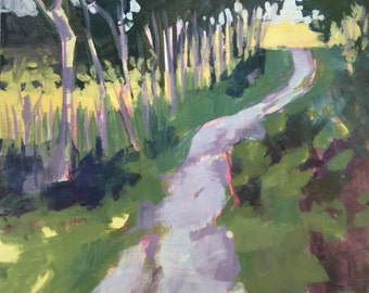Study for Birdsong and Cicadas - 12 x 12 inches original plein air landscape painting of country lane and woods by Barb Mowery