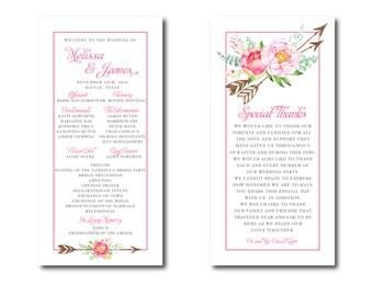Watercolor Floral Wedding Program and Menu  // Ceremony Decor // Posh Edibles Collection