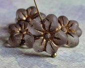 Matte Crystal Gold Czech Glass Bead 14mm Flower Blossom : 6 pc Czech Flower Bead