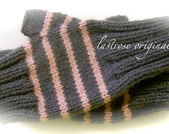 Fingerless Mittens, Hand Knit, Ladies and Teens, Charcoal Gray and Dusty Pink
