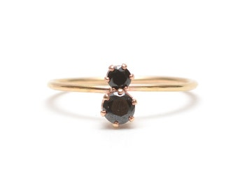Luxe Black Spinel Binary Stone Ring - Recycled Metal + Ethical Stones