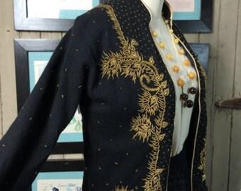 1950s beaded cardigan 50s black cardigan size medium Vintage wool sweater