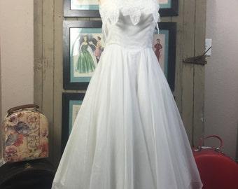 1980s chiffon dress 80s does the 50s size small medium Vintage wedding dress tea length dress