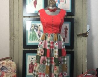 70s patchwork dress 1970s hippie dress size x small Vintage boho dress