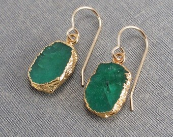 Green Indian Emerald Organic Raw Stone Slice Earrings