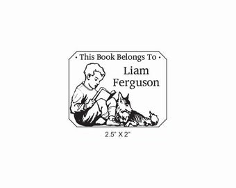 A Boy and his Dog Reading Ex Libris Bookplate Rubber Stamp O16