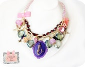 Little Mermaid Cameo Necklace under the sea starfish purple and pink