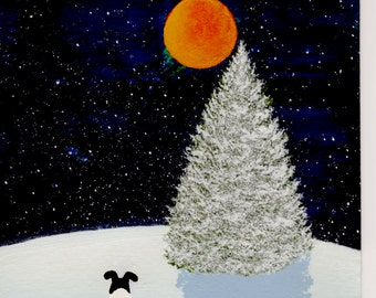 Smooth Fox Terrier Dog original 5 x 7 Original Folk Art painting by Todd Young FALLING SNOW