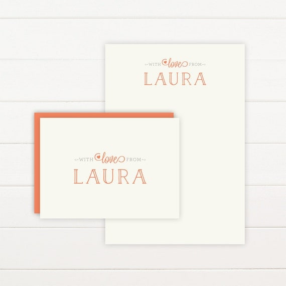 WITH LOVE Personalized Stationery + Notepad Set - Personalized Notepad and Personalized Stationary
