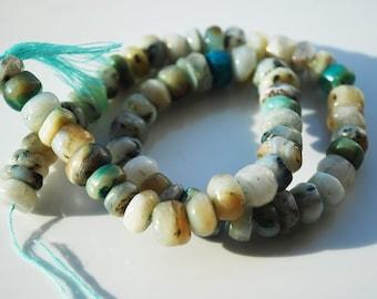 Half Strand, Genuine Blue Peruvian Opal Matrix Heishi Beads (A), 9x5 MM
