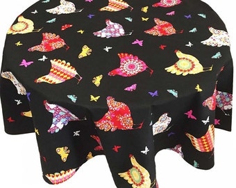 French Country Tablecloth, Black Print Tablecloth with Crazy Chickens and Butterflies