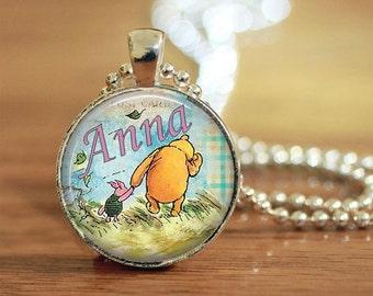 Personalized Pooh Pendant, Pooh Bear Pendant, Pooh Bear Necklace, Winnie the Pooh Jewelry, Pooh Bear Pendant