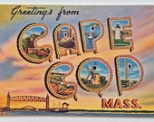 Vintage Greetings from Cape Cod Mass - Big Letters Postcard