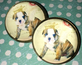 Crystal Dome Button Darling English Bulldog Angel Wearing Crown One Inch Chic