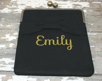 Personalized Gift for Her, Gift for Women,  Monogram Name iPad Case, Christmas Gift, Personalized iPad Case - Black/Bow and monogram